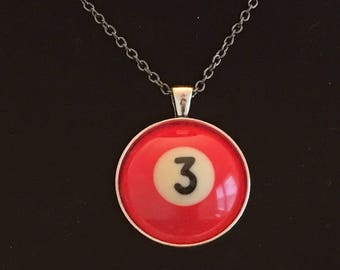 "Necklace - # 3 Pool Ball  (16""-24"")"