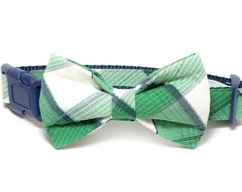 Green and White Plaid Dog Bow Tie ONLY, pet bow tie, collar bow tie, wedding bow tie