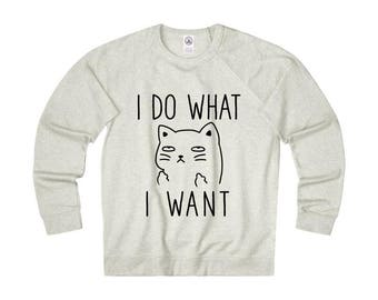 I do what I want Cat Sweatshirt, Cat lovers Hoodie, Unisex Heather Pullover Sweatshirts, Cat Lover Gift Hoodies