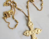 Necklace - Rare Crusader Cross - 18K Gold Vermeil with Parisian Chain