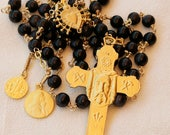 Rosary - Blue Goldstone Holy Face - Saint Mary Magdalene & Saintes Maries - 18K Gold Vermeil