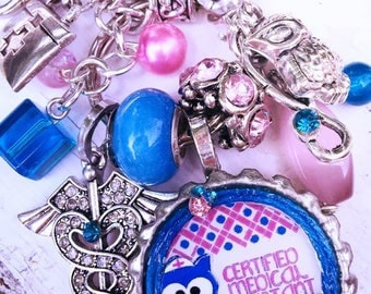 Certified Medical Assistant/Nurse/Blue/Pink/Owl Theme/Car Charm/Novelty/ Keychain/Pursecharm/Co-Worker/Graduate/NewCareer Gift