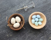 Goose, duck eggs 12th scale dollhouse food. One inch dollshouse kitchen miniature food, market scene