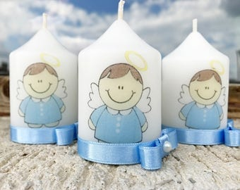 Angel Baby Blue Baptism candle, Baby Shower favors, Baptism favors, Christening favors, Personalized candles, Picture candles, Party favors