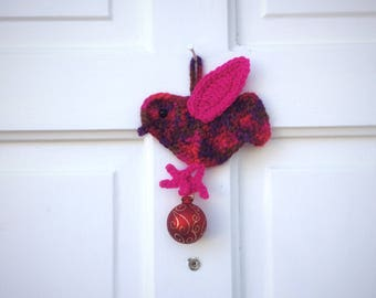 Christmas Home Accents Unique Handmade Crochet Pink Purple Bird with Christmas Ball Ornament Gifts Under 25