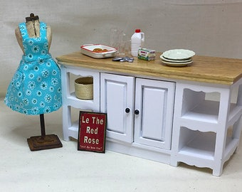 Miniature Dollhouse Vintage Inspired Apron with Bib - Turquoise with White Flower