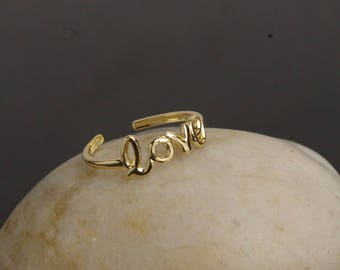 Love Toe Ring, Love Knuckle Ring, Adjustable Midi Ring, Gold Midi Ring, Silver Toe Ring, Gold Toe Ring, Sterling Silver