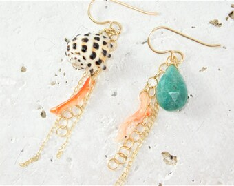 Mismatched Shell Earrings, Beach Wedding Earrings, Beach Wedding Jewelry, Beach Bridesmaid Jewelry, Beach Bridal Earrings