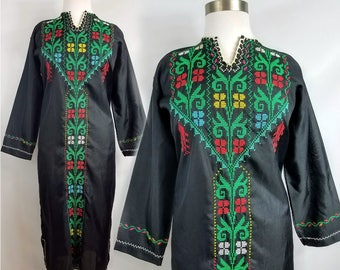 70s Embroidered Kaftan Spring Music Festival Cross-stitched Ethnic Maxi Dress OSFM