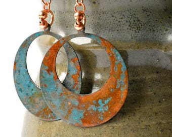 Turquoise earrings, Copper earrings, Patina earrings, Hoop earrings, Verdigris Earrings, Copper Jewelry, verdigris patina, copper hoops