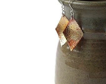 Colorful Copper Earrings, Hammered Copper Geometric Statement Earrings, Rustic Earrings, Mixed Metal Earrings