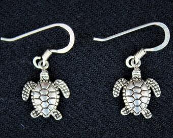Vintage Sterling Silver HAWAIIAN  HONU Sea Turtle Earrings