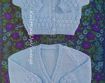 Baby Knitting Pattern pdf V neck and round neck Cardigans DK