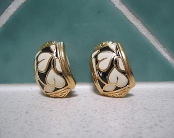 Vintage Clip on Enamel Earrings - Cream and  Black - Gold Tone