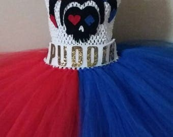Harley Quinn Suicide Squad Tutu Dress Halloween Costume for Girls and Toddler Girls from LanYapCrafts Tutu Nerdy Tutu Dress