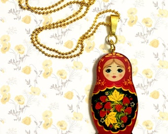 Beloved ethnic symbol Matryoshka Russian Doll, Folk, Colorful, Pink, Red, Blue, Floral Decorations Long Ball Chain Statement Necklace