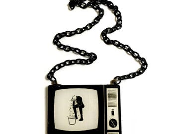 Old  TV, Television, Retro, Vintage, Pop Art, 50's- 60's TV necklace, Cool, Geeky, Long necklace, Crying Man, Don't Leave, Cheer up gift