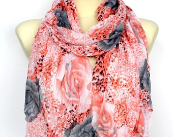 Floral Fashion Scarf - Red Roses Scarf - Leopard Print Scarf - Fabric Scarf - Women Shawl - Unique Scarf - Animal Print Scarf