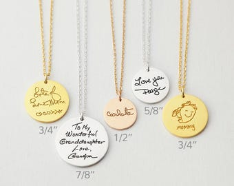 Actual handwriting necklace • Custom handwriting jewelry • Memorial necklace for mom • Keepsake necklace • Gift for mom CHN