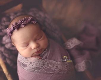 Purple bow tieback. 3 bow tieback. Newborn tieback. Newborn photo prop. Photography prop.