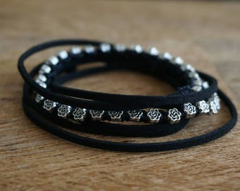 "Boho Jewelry ""Night Flower"", Gypsy Beachy Hippie Black Faux Leather Wrap Bracelet/Choker Necklace/ Armband/ Anklet/ Hair Accessory ByLEXY"