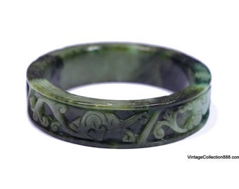 Jadeite Jade Bangle green a with flowers and Bat carved. 60mm - JB430