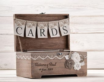 Rustic Gift Card Box Holder Keepsake Box Wooden Chest Personalized Wedding Card Box Custom Аdvice box Memory box Favors box