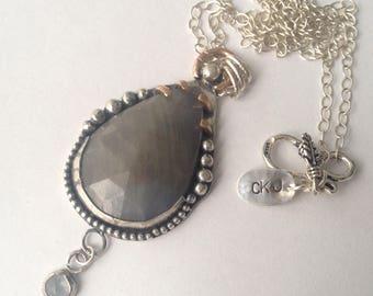 Twilight Luna Wolf Sapphire Talisman Statement Pendant Necklace || industrial bohemian chic, 14k rose gold, 925 sterling silver