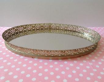 Vintage vanity mirror, mirror tray, gold filigree mirror, Hollywood regency mirror, filigree tray #8