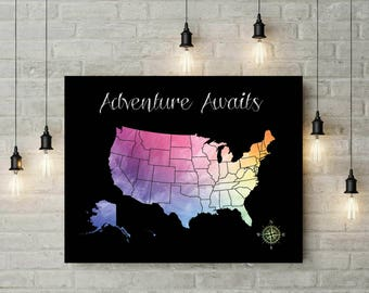 Personalized Gift Map | Birthday Gift | Travel US Map | Gift For Boyfriend | Anniversary Gift | Valentines Day | Wedding Gift - 51177