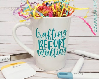 Crafting Before Adulting Coffee Mug / Custom Vinyl / Coffee Tea Cup / Crafts DIY / Turquoise