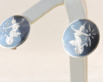 Sterling Silver Siam Clip On Earrings