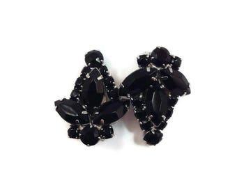 1950s 60s Black Rhinestone Earrings