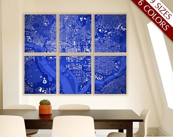 "Washington DC map, Map of Washington DC, 6 colors, 9 sizes up to 90x72"" Large DC map art in 1 piece or 6 parts - Limited Edition of 100"