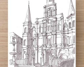 St. Louis Cathedral in New Orleans, Louisiana - Architecture, Church, Ink Drawing, Sketch, Black and White, Art, Pen and Ink, 5x7, 8x10