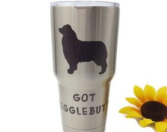 Australian Shepherd, Aussie Shepherd, Aussie Dog, Wiggle Butt, Gift Custom Tumbler, Wigglebutt Tumbler Australian Shepherd Art 30 oz Tumbler