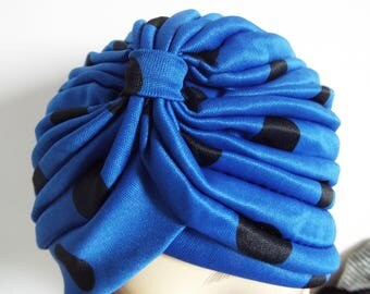 Ladies Hat Blue and Black Animal  Stretch Turban in layered design with front knot