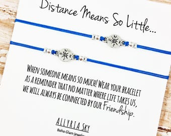 "Set of Two Charm Friendship Bracelets with ""Distance"" Card 