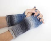 Hand knit wrist warmers, knit fingerless gloves, ombre gloves, wool and silk gloves, hand warmers, hand knit gloves, charity donation