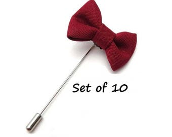 Red Lapel Pin Set of 10 Bows Groomsmen Gifts Cranberry Burgundy Wedding Boutonniere Flower Lapel Pin Floral Stick Pin Groomsman Lapel Pins