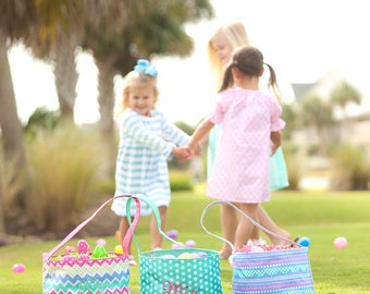 Personalized Easter Bucket - Boy & Girl - Patterned Easter Basket - Monogram Gift
