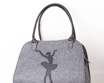 Ballerina bag Ballerina purse Felt bag Shoulder bag Ballet dancer bag Women handbag Fashion lady bag Womens handbag Felt shoulder purse