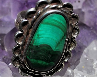 925 Sterling Silver and Malachite with oval burst - 0030