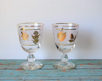 Set of Two (2) Libbey Rock Sharpe Golden Foliage Frosted Stemmed Wine Glasses