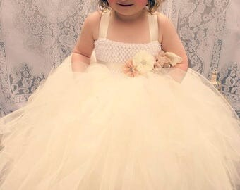 Girls Ivory and Champagne Flower Girl Tutu Dress With Vintage Sash and Headband