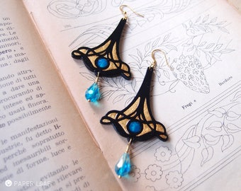 dangle art nouveau earrings LIBERTY NEPTUNE, hand carved paper earrings, lightweight earrings, gothic earrings, long dangle paper earrings