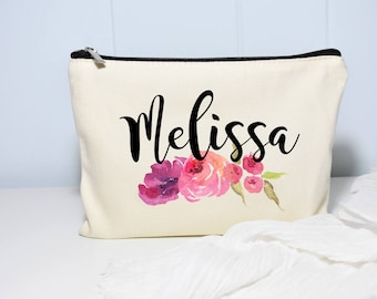 Makeup Bag, Personalized Bag, Floral Monogram Bag, Bridesmaid Gifts, Makeup Case, Monogram Bag, Cosmetic Bag, Makeup Organizer, Gift for Her