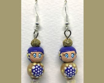 Earrings Rondouille Art doll blue/yellow glitter