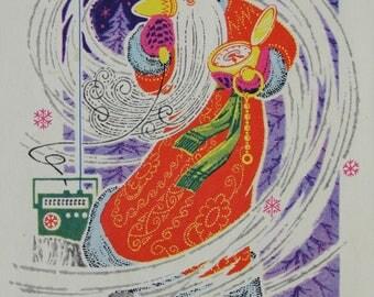 Happy New Year! Artist Yu. Polyakov - Used Vintage Soviet Postcard, 1969. Santa Claus Radio receiver Telephone Ded Moroz Christmas Print