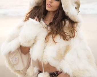 "Burning Man Faux Fur Horned Hooded Cape-let in ""Himalayan Snow Goddess,"" ""Faun,"" ""Chimera"".  Horns Optional."